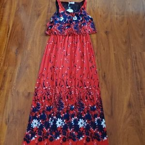 Ladies Red, White n Blue Floral Maxi Dress